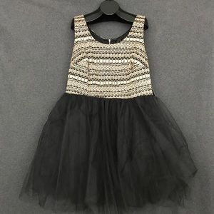 Tutu style black and gold party dress